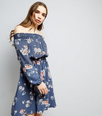 Blue Floral Print Long Sleeve Bardot Neck Dress