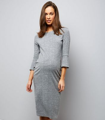 Maternity Grey Bell Sleeve Ribbed Fine Knit Midi Dress