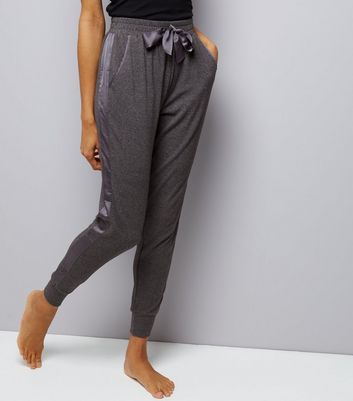 Grey Brushed Jersey Sateen Trim Joggers