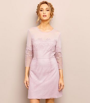 Lilac Mesh Lace Trim 3/4 Sleeve Mini Dress