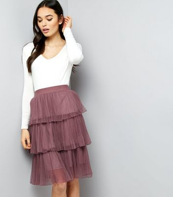 Dark Purple Pleated Tulle Skater Skirt