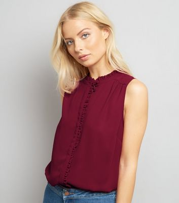 Burgundy Frill Trim Sleeveless Top