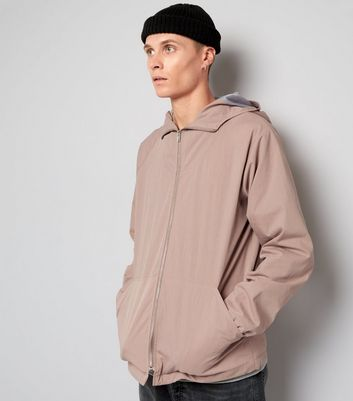 Pink Crepe Zip Front Hooded Jacket