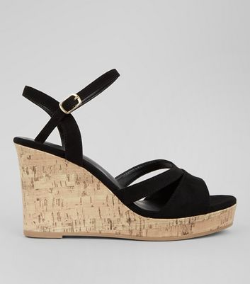 Wide Fit Black Suedette Cork Wedge Heels