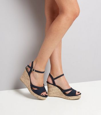Wide Fit Navy Double Strap Top Cork Wedge Heels