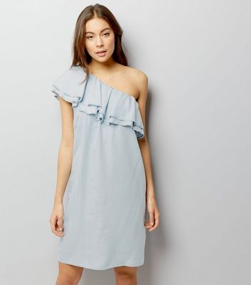 Pale Blue One Shoulder Frill Trim Dress