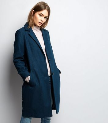 Dark Green Button Front Longline Coat