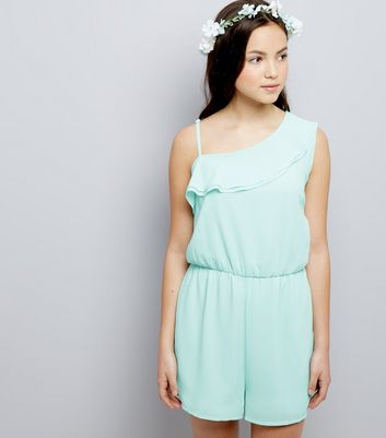 Teens Mint Green Asymmetric Frill Trim Playsuit