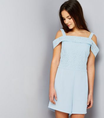 Teens Pale Blue Lace Cold Shoulder Playsuit