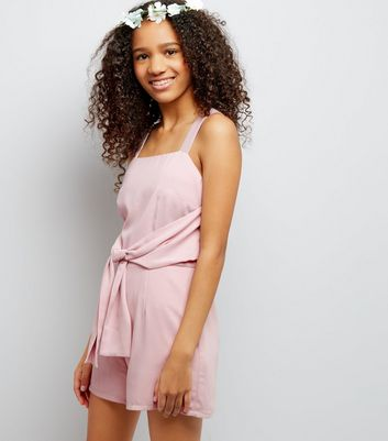 Teens Shell Pink Tie Front Playsuit