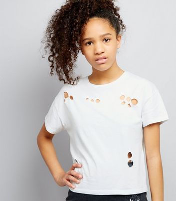 Teens White Ripped Short Sleeve Crop Top