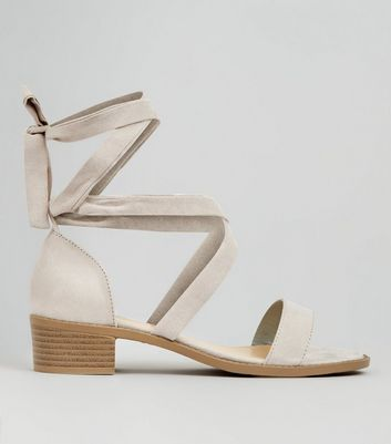 Teens Grey Suedette Tie Up Sandals
