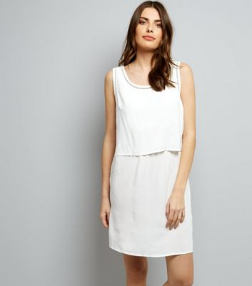 JDY White Cut Out Trim Layered Sleeveless Dress