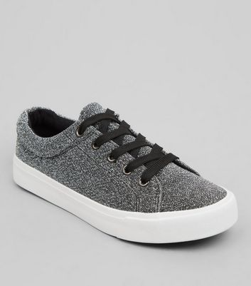 Teens Silver Glitter Trainers