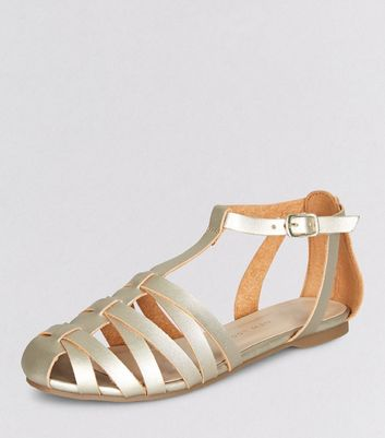 Teens Gold Caged T-Bar Sandals
