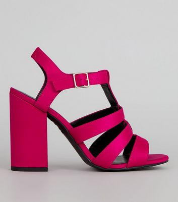 Pink Satin Gladiator Block Heels