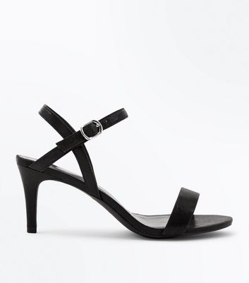 Black Shimmer Cross Strap Side Heels