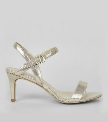 Gold Cross Strap Side Heels