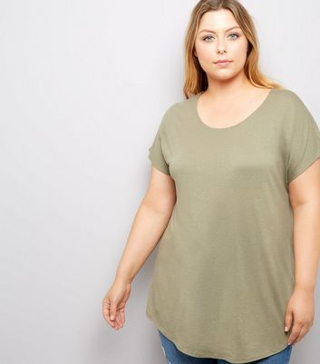 Curves Khaki Scoop Neck T-Shirt