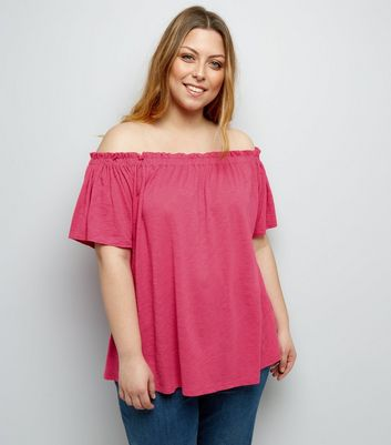 Curves Bright Pink Shirred Bardot Neck Top