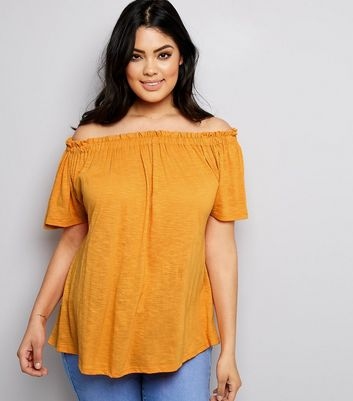 Curves Orange Shirred Bardot Neck Top