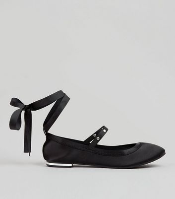 Black Sateen Stud Strap Tie Up Pumps