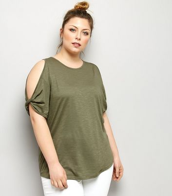 Curves Khaki Twist Sleeve Cold Shoulder T-Shirt