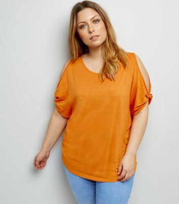 Curves Orange Twist Sleeve Cold Shoulder T-Shirt