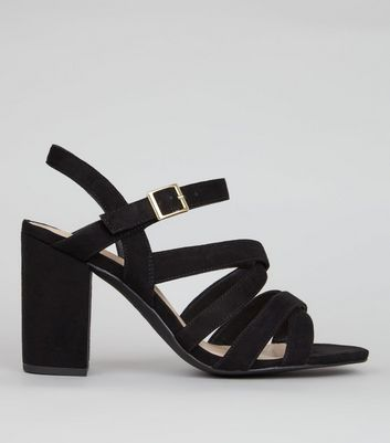 Wide Fit Black Comfort Suedette Strappy Heels