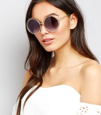 Gold Metal Round Sunglasses