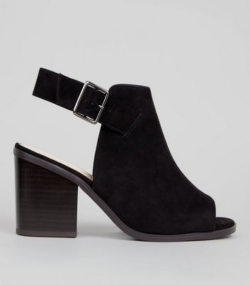 Wide Fit Black Comfort Suedette Peep Toe Heels