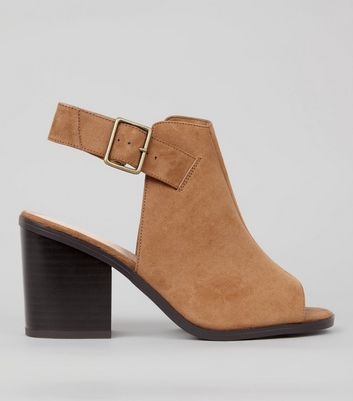 Wide Fit Tan Comfort Suedette Peep Toe Heels