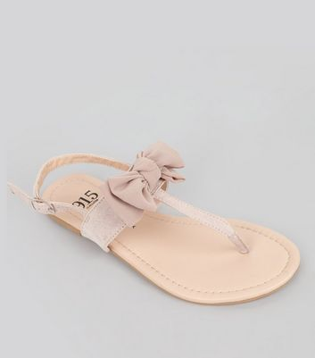 Teens Pink Suedette Bow Front Sandals