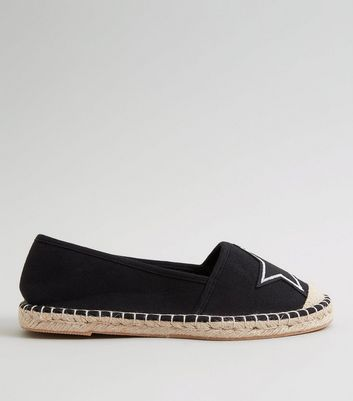 Teens Black Canvas Star Badge Espadrilles