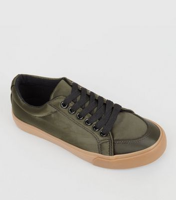 Teens Khaki Satin Trainers