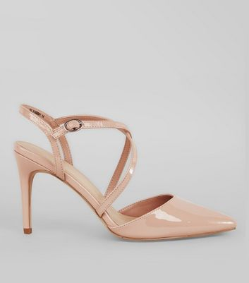 Nude Pink Patent Cross Strap Pointed Heels