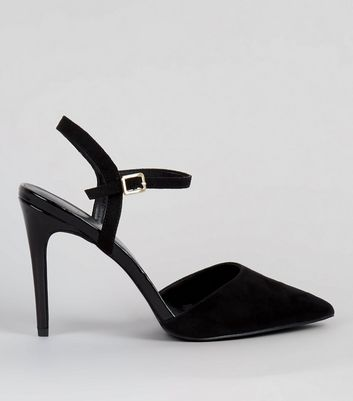 Black Ankle Strap Pointed Court Shoes