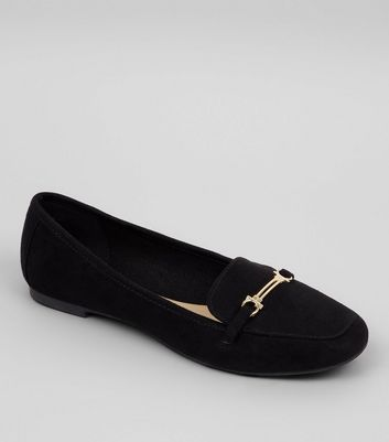 Teens Black Suedette Metal Bar School Loafers