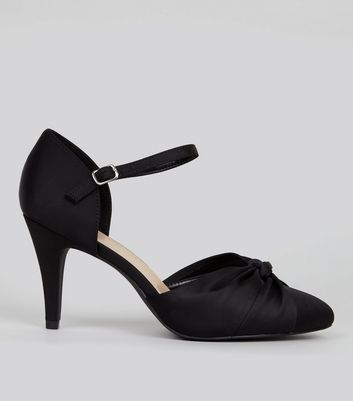Wide Fit Black Satin Knot Front Court Shoes