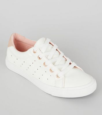 Teens White Contrast Trim Lace Up Trainers