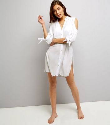 White Cold Shoulder Tie Sleeve Beach Shirt
