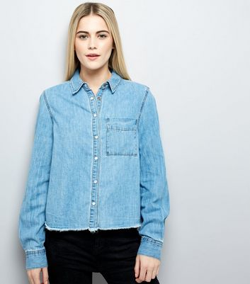 Blue Frayed Hem Denim Shirt