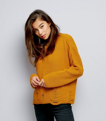 Yellow Ladder Ripped Crew Neck Boxy Jumper