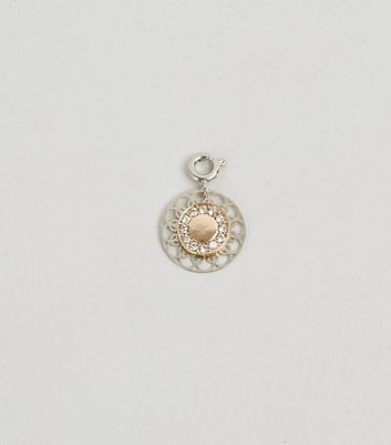 Gold 2 Tone Diamante Filigree Charm