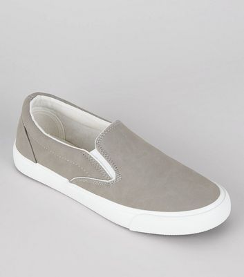 Grey Contrast Trim Slip On Trainers