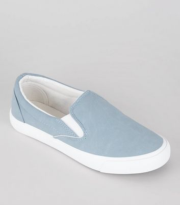Pale Blue Contrast Trim Slip On Plimsolls