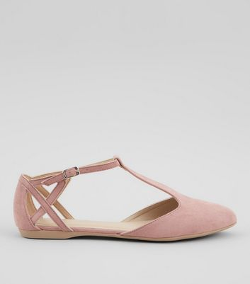 Pink Suedette Cross Strap Side Pumps