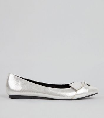 Silver Patent Knot Front Ballerina Pumps