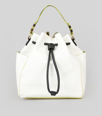 White Drawstring Bucket Backpack