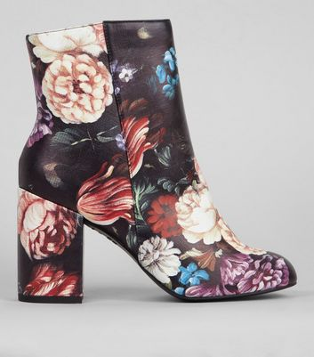 Black Floral Print Heeled Boots